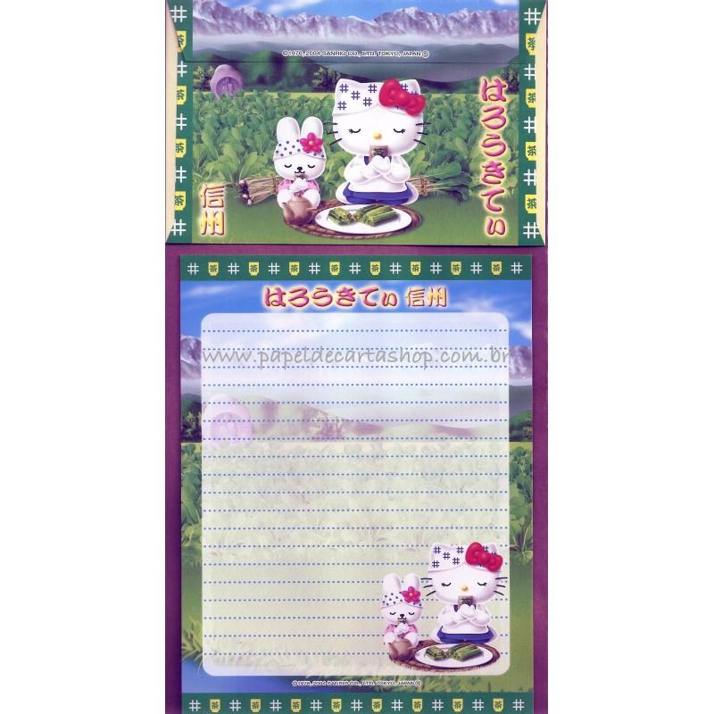 Ano 2004. Conjunto de Papel de Carta Gotōchi Kitty Regional Japão 31 - Sanrio