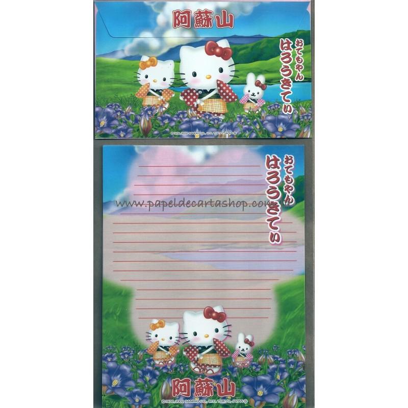 Ano 2002. Conjunto de Papel de Carta Gotōchi Kitty Regional Japão 33 - Sanrio
