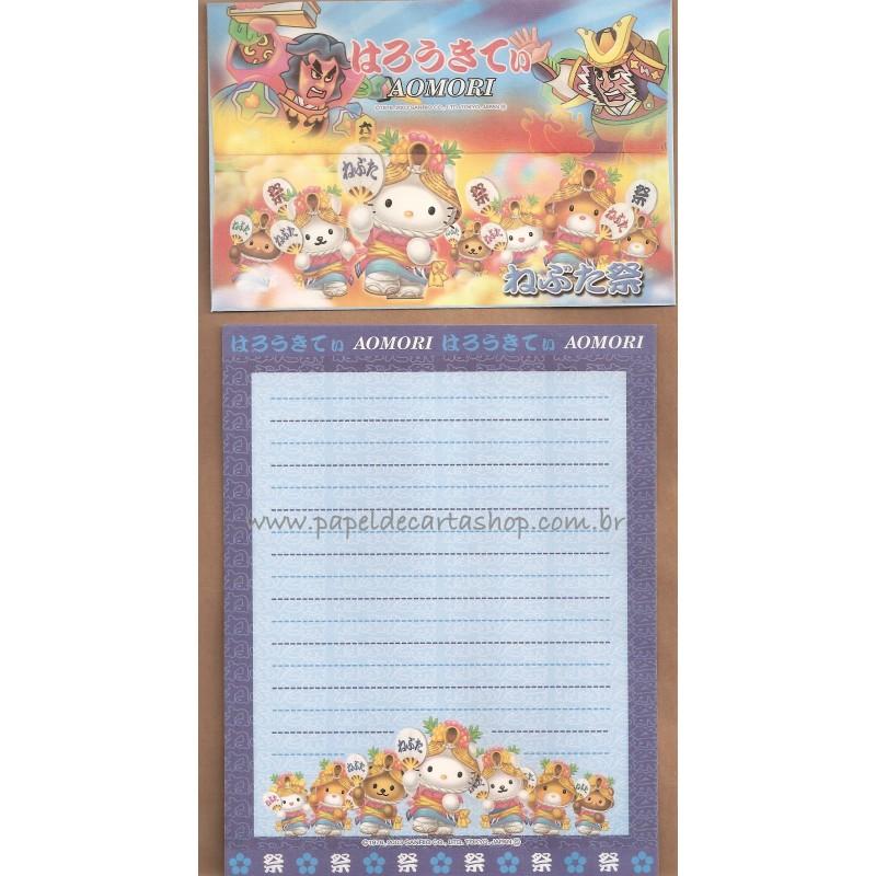 Ano 2003. Conjunto de Papel de Carta Gotōchi Kitty Aomori Sanrio