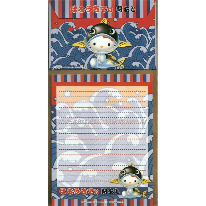 Ano 2002. Conjunto de Papel de Carta Gotōchi Kitty Regional 30 Sanrio