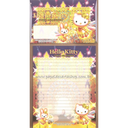 Ano 2003. Conjunto de Papel de Carta Gotōchi Kitty Tokyo Millenario Sanrio
