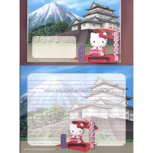 Ano 2003. Conjunto de Papel de Carta Gotōchi Kitty Regional Japão 16 - Sanrio
