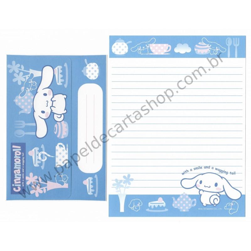 Ano 2005. Conjunto de Papel de Carta Cinnamoroll Cafe Sanrio