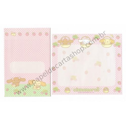 Ano 2008. Conjunto de Papel de Carta Cinnamoroll Strawberry Sanrio
