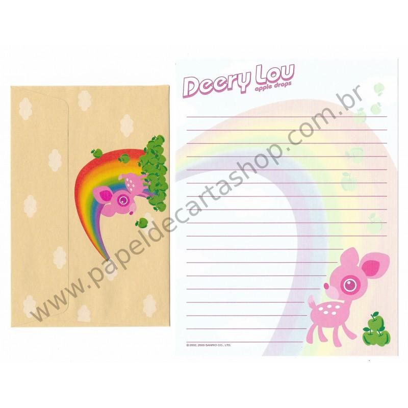Ano 2003. Conjunto de Papel de Carta Deery-Lou Apple Drops Sanrio