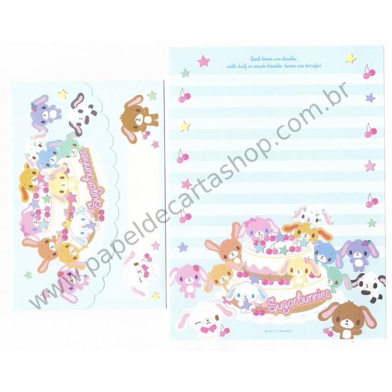 Ano 2011. Conjunto de Papel de Carta Sugarbunnies Twins Az Sanrio