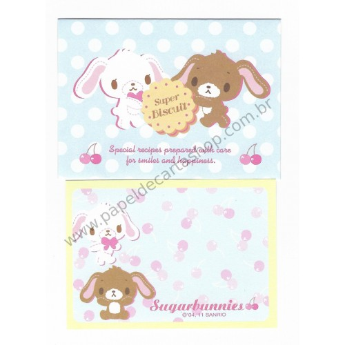 Ano 2011. Conjunto de Mini Papel de Carta Sugarbunnies Twins Sanrio