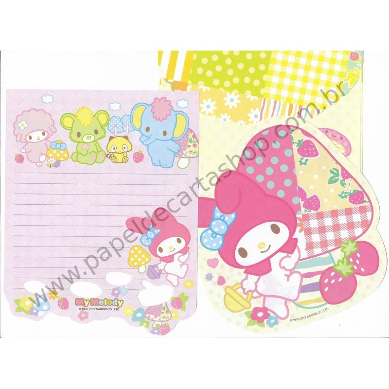 Ano 2012. Conjunto de Papel de Carta My Melody Strawberry Sanrio