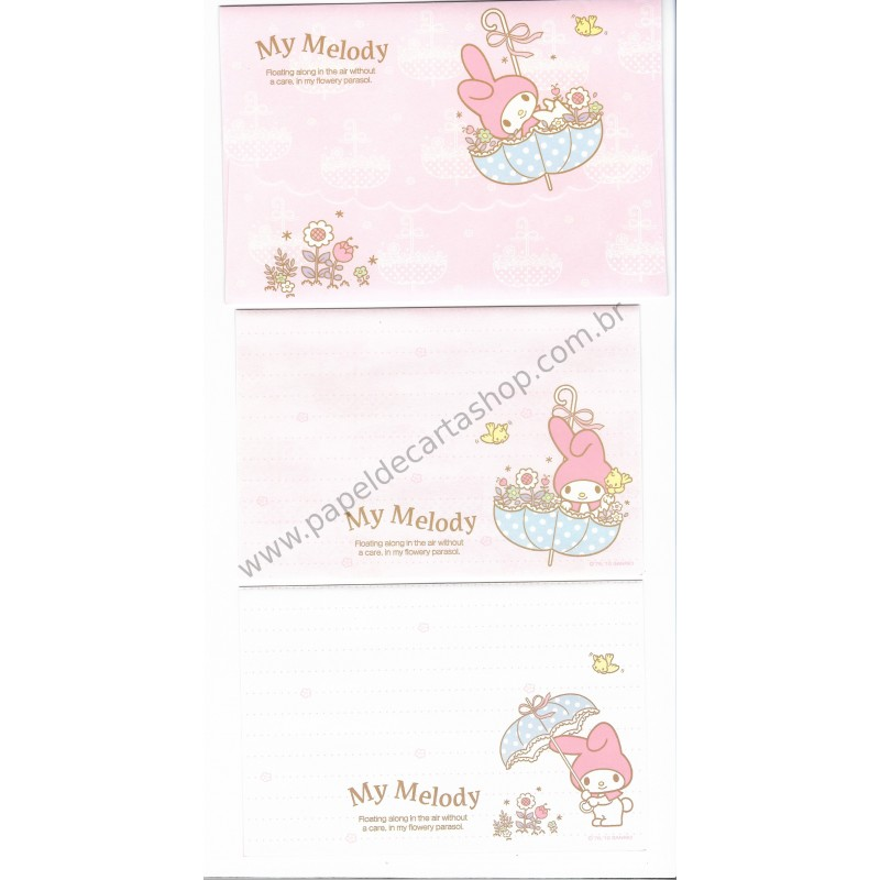 Ano 2010. Conjunto de Papel de Carta My Melody Flowery Parasol Sanrio