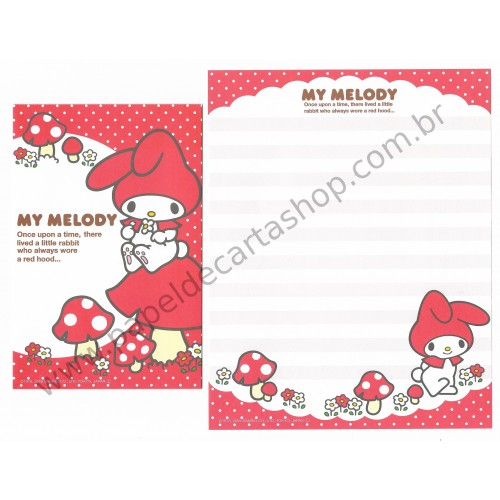 Ano 2009. Conjunto de Papel de Carta My Melody Red Hood VM Sanrio