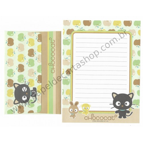Ano 2004. Conjunto de Papel de Carta Chococat Apples Sanrio