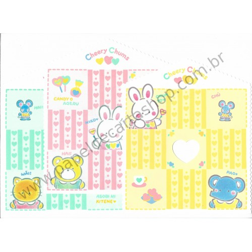 Ano 1994. Lote 3 Papéis de Carta Cheery Chums Sanrio (VINTAGE)