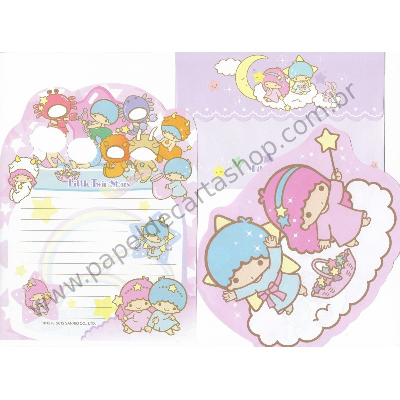 Ano 2012. Conjunto de Papel de Carta Little Twin Stars Sanrio