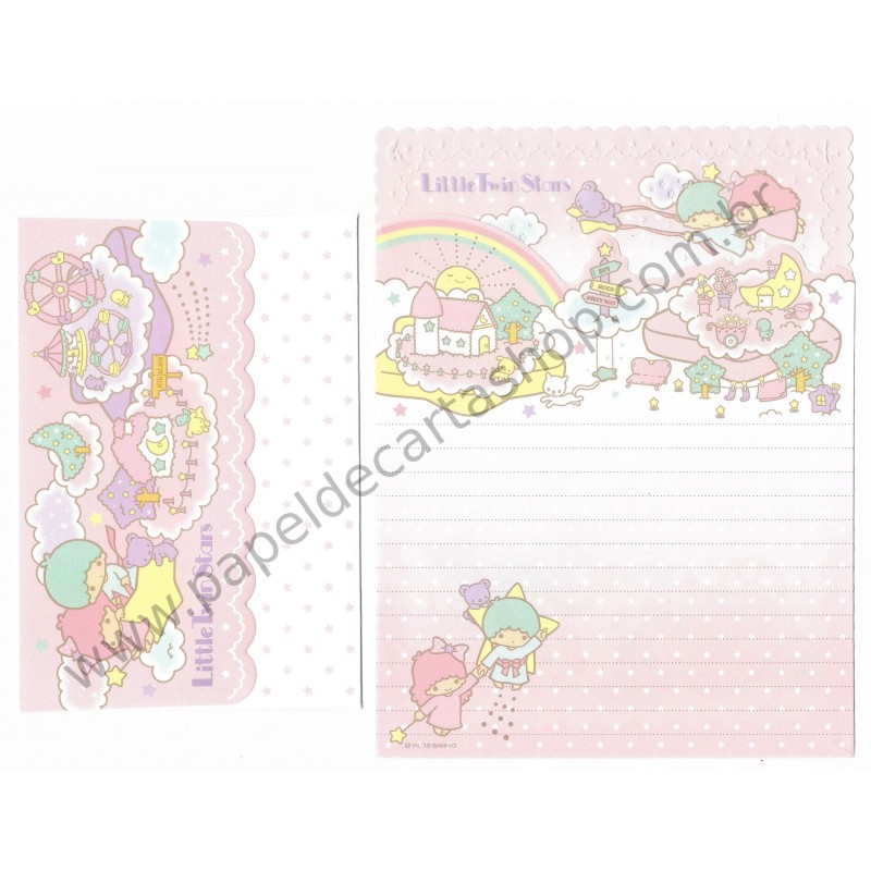 Ano 2010. Conjunto de Papel de Carta Little Twin Stars Sanrio