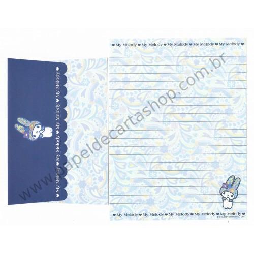 Ano 2001. Conjunto de Papel de Carta My Melody Dark Blue Antigo (Vintage) Sanrio