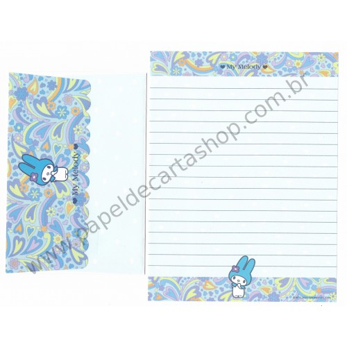 Ano 2001. Conjunto de Papel de Carta My Melody Light Blue Antigo (Vintage) Sanrio