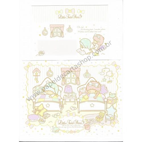 Ano 2013. Conjunto de Papel de Carta Little Twin Stars Kiki & Lala's Room Sanrio