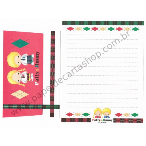 Ano 1998. Conjunto de Papel de Carta Patty & Jimmy Antigo (Vintage) Sanrio