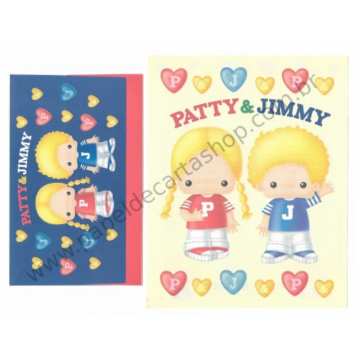 Ano 1998. Conjunto de Papel de Carta Patty & Jimmy P&J Antigo (Vintage) Sanrio
