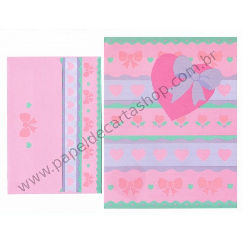 Ano 1994. Conjunto de Papel de Carta Heart Fashion Folio Antigo (Vintage) Sanrio