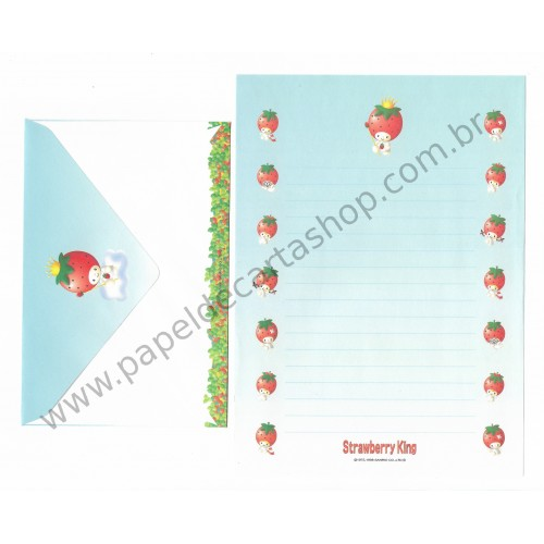 Ano 1998. Conjunto de Papel de Carta Strawberry King Az Antigo (Vintage) Sanrio