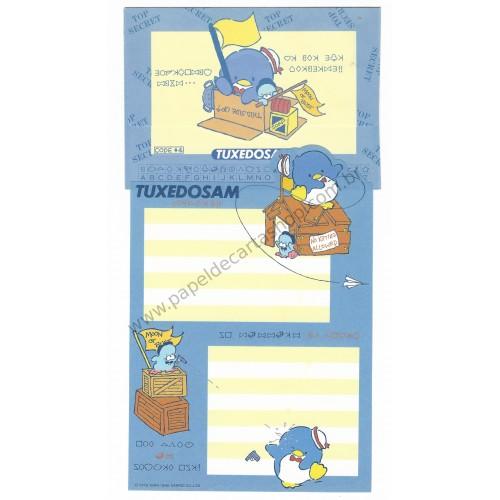 Ano 1986. Conjunto de Papel de Carta Tuxedosam Codes Antigo (Vintage) Sanrio