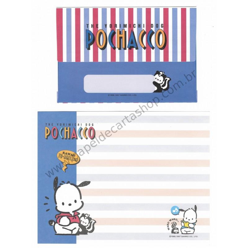 Ano 1997. Conjunto de Papel de Carta Pochacco Kawaii ANTIGO (VINTAGE)