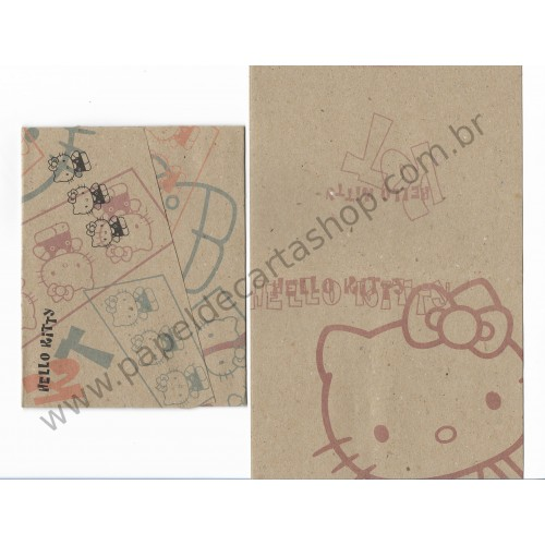 Ano 1996. Conjunto de Papel de Carta Hello Kitty Kraft Antigo (vintage) Sanrio