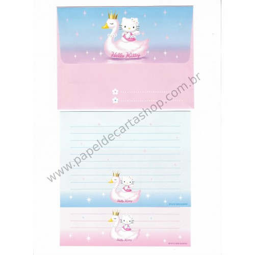 Ano 1999. Conjunto de Papel de Carta Hello Kitty 25th Anniversary Sanrio Antigo (Vintage)
