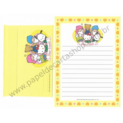 Ano 1995. Conjunto de Papel de Carta Dear Friend Antigo (Vintage) Sanrio Puroland