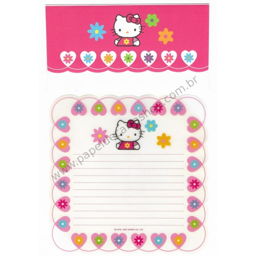 Ano 1993. Conjunto de Papel de Carta Hello Kitty Transparente (Vintage) Sanrio