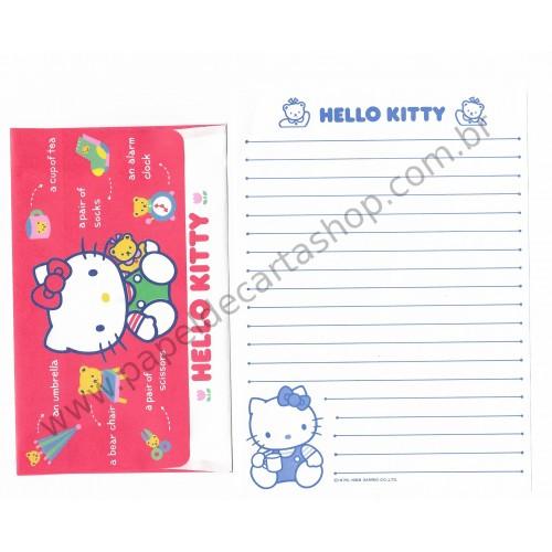 Ano 1989. Conjunto de Papel de Carta Hello Kitty Antigo (Vintage) Sanrio
