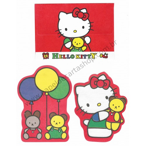 Ano 1990. Conjunto de Papel de Carta Hello Kitty Die Cut Antigo (Vintage) Sanrio