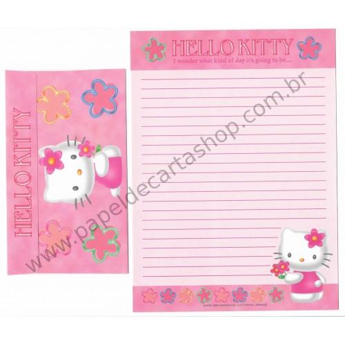 Ano 1999. Conjunto de Papel de Carta Hello Kitty Antigo (Vintage) Sanrio