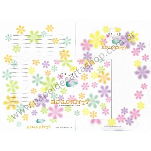 Ano 2000. Conjunto de Papel de Carta Hello Kitty Dupla BR Antigo (Vintage) Sanrio