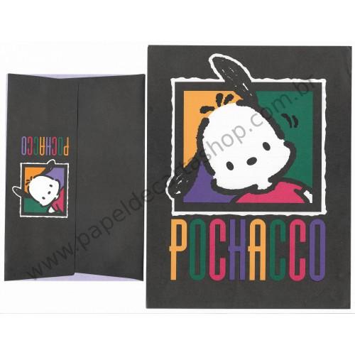 Ano 1994. Conjunto de Papel de Carta Pochacco Black Antigo (Vintage) Sanrio