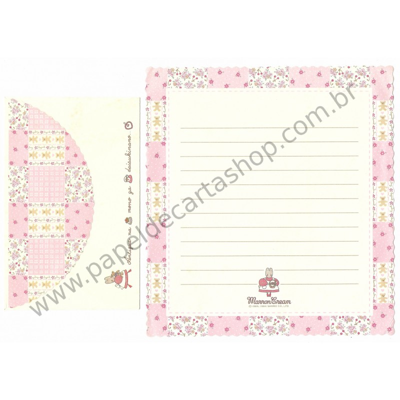 Ano 1994. Conjunto de Papel de Carta Marron Cream RS Vintage Sanrio