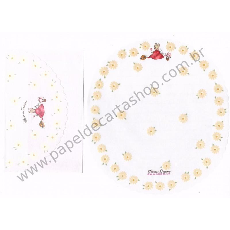 Ano 1992. Conjunto de Papel de Carta Marron Cream TRS Antigo (Vintage) Sanrio