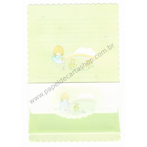 Conjunto de Papel de Carta Antigo (Vintage) Arisu No Heya (Verde)