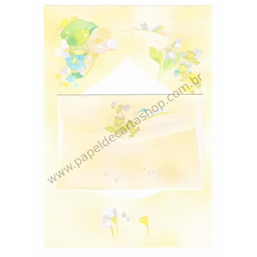 Conjunto de Papel de Carta Antigo (Vintage) Arisu No Heya (Laranja)