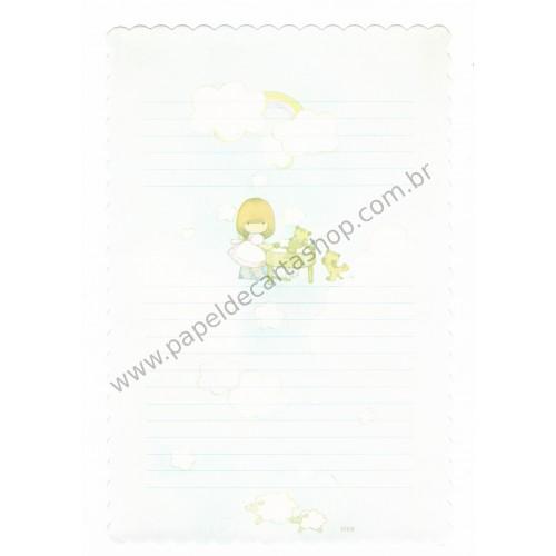 Papel de Carta Avulso Antigo (Vintage) Arisu No Heya (Azul)