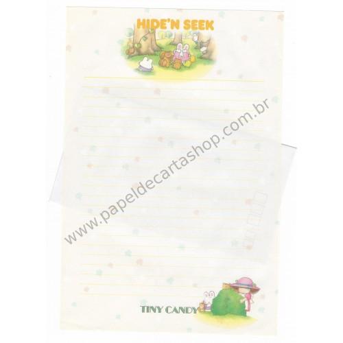 Conjunto de Papel de Carta Vintage Tiny Candy Hide'n Seek CAM Gakken