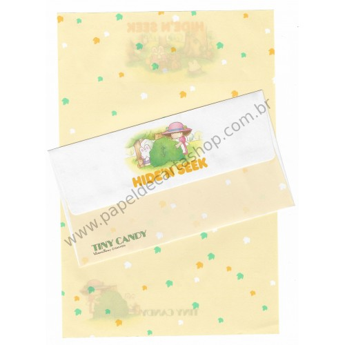 Conjunto de Papel de Carta Antigo (Vintage) Tiny Candy Hide'n Seek Amarelo - Victoria Fancy Gakken