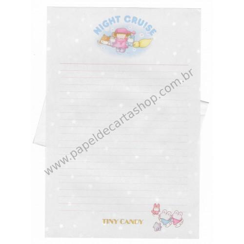 Conjunto de Papel de Carta Antigo (Vintage) Tiny Candy Night Cruise Lilás - Victoria Fancy Gakken