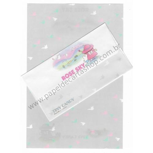 Conjunto de Papel de Carta Antigo (Vintage) Tiny Candy Rose Sky Cinza - Victoria Fancy Gakken