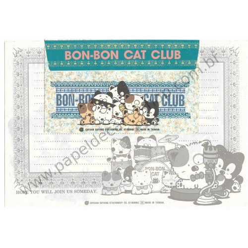 Conjunto de Papel de Carta Antigo (Vintage) Bon Bon Cat Play Around