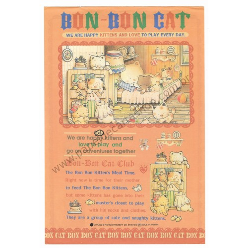 Conjunto de Papel de Carta Antigo (Vintage) Bon Bon Cat Kitten's Meal Time
