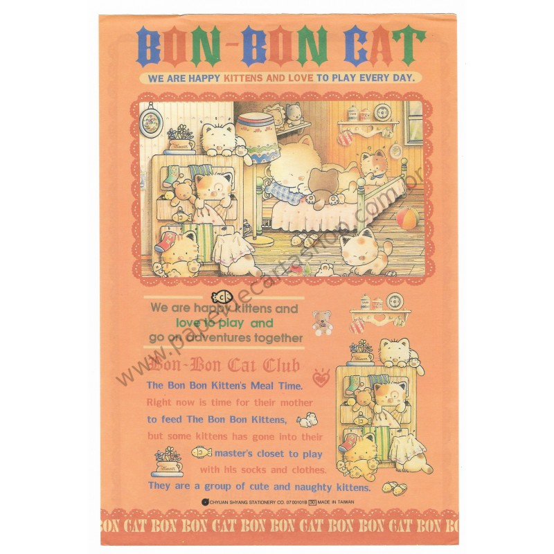 Conjunto de Papel de Carta Antigo (Vintage) Bon Bon Cat Kitten's Meal Time