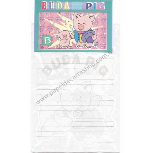 Conjunto de Papel de Carta Antigo (Vintage) Buda Pig RS Wealthyluck