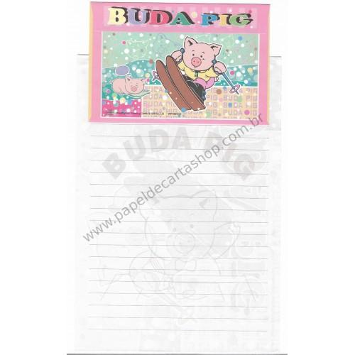 Conjunto de Papel de Carta Antigo (Vintage) Buda Pig VD Wealthyluck